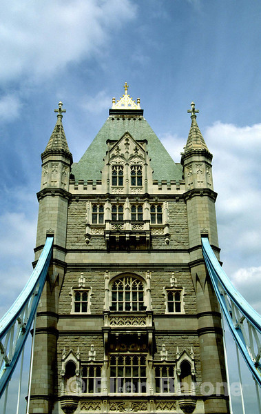 Tower as viewed from double-decker sightseeing bus, Tower Bridge, London, England.