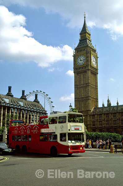 London icons: red double-decker bus; Big Ben, London Eye, Houses of Parliament. London, Westminster, England