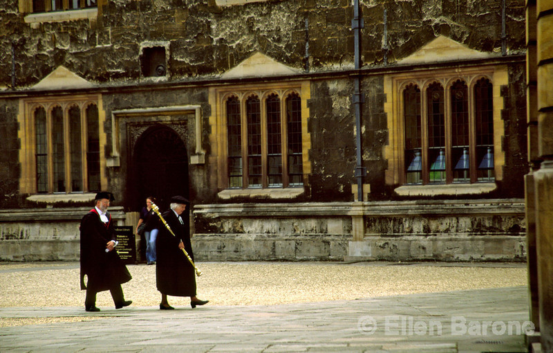 Robed academics, Bodleian Library, Oxford, England