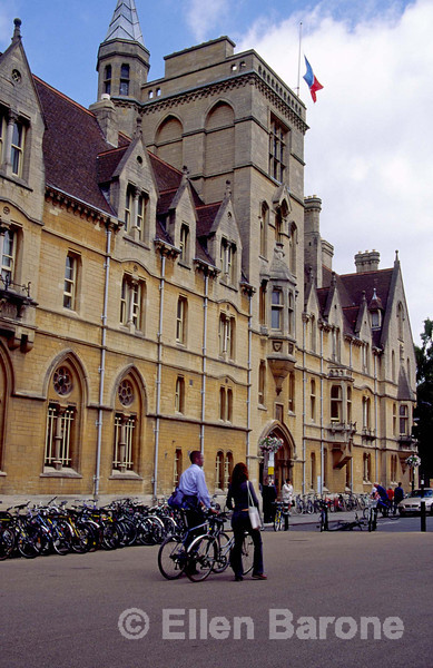 Iconic images, bicycles, gothic architecture, strolling students,  Oxford, England