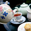 Cream Tea with scones, jam and clotted cream, Kitnor's Tea Room & Gardens, Bossington, Exmoor National Park, Somerset. England, U.K.