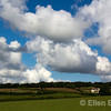 Farmhouse, blue sky and clouds, Exmoor National Park, Somerset. England, U.K.
