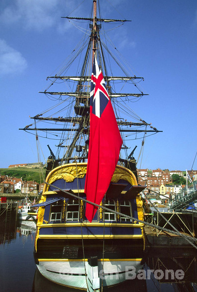 The Endeavour replica ship is a frequent visitor to Whitby's harbour, where a young Captain Cook stayed when he apprenticed nearby, Whitby, Yorkshire, England.