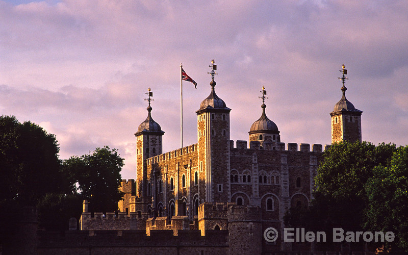 Magical evening light warms White Tower, when completed in 1097 was the tallest building in London at 90 ft. (27 m.), Tower of London, London, England.