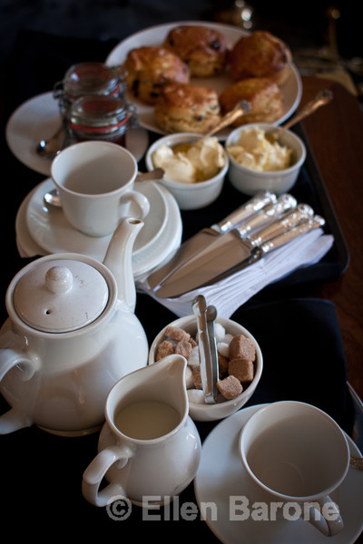 Cream Tea with scones, jam and clotted cream, The Crown Hotel, Exford, Exmoor National Park, Somerset. England, U.K.