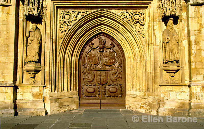West doors of the Bath Abbey, Bath, England.