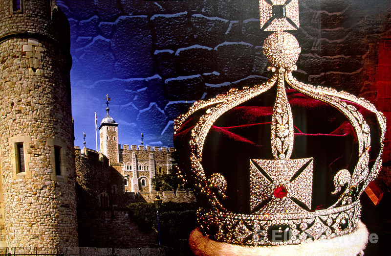 Detail, promotional display, The Crown Jewels, Tower of London, London, England.