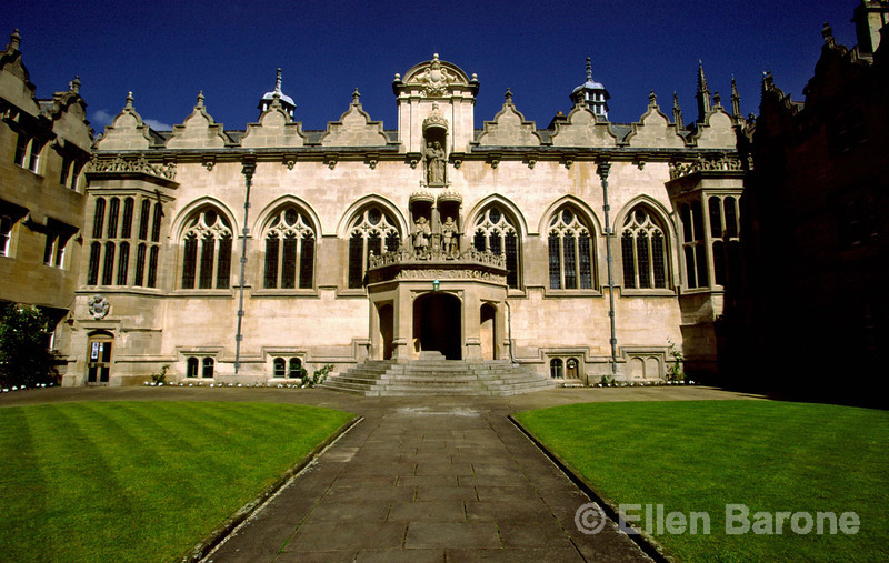 Oriel College, nicknamed Oriel after the famous decorative oriel window in the original medieval building which stood on the site of the present quadrangle from the 1300s, Oxford, England