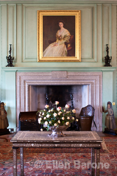 Ladies drawing room, Castle Drago, a National Trust property and country house built in the 1910s and 1920s for Julius Drewe, near Drewsteignton, Devon, England.