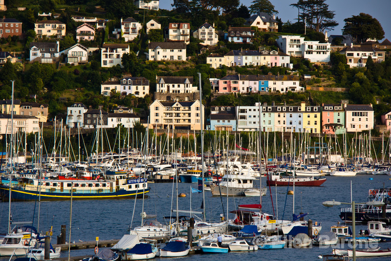 Sailing yachts and view to Kingswear from Dartmouth, south Devon, England, U.K.