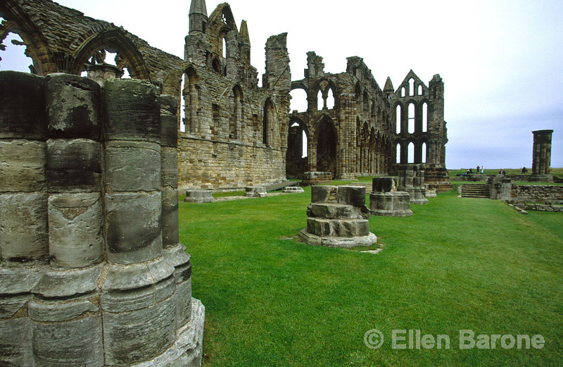 The ruins of the 13th century Whitby Abbey was once a monastery that Abbess Hilda founded in 657 for men and women sacked by Vikings in 870, then rebuilt in the 11th century as a Benedictine Abbey, Whitby, Yorkhsire, England.
