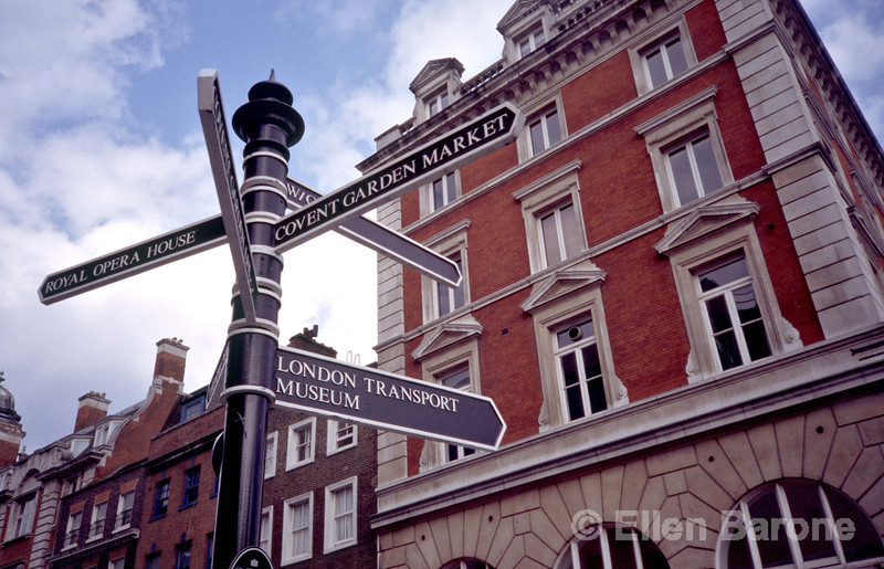 Directional signpost points to Covent Garden, Royal Opera House, London Transport Museum, London, England