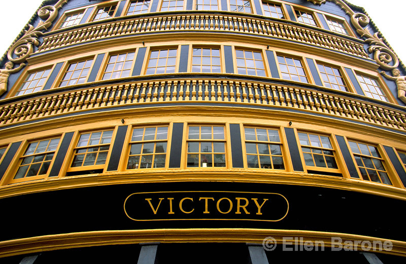 HMS Victory, the English flagship on which Admiral Nelson was killed at Trafalgar and now restored to its former glory, Portsmouth, England.