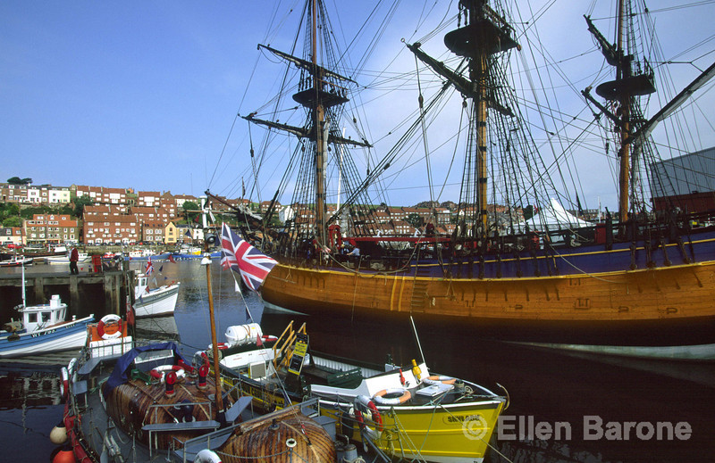 The Endeavour replica ship is a frequent visitor to Whitby's harbour, where the young Captain Cook stayed when he was apprenticed nearby, Whitby, Yorkshire, England.
