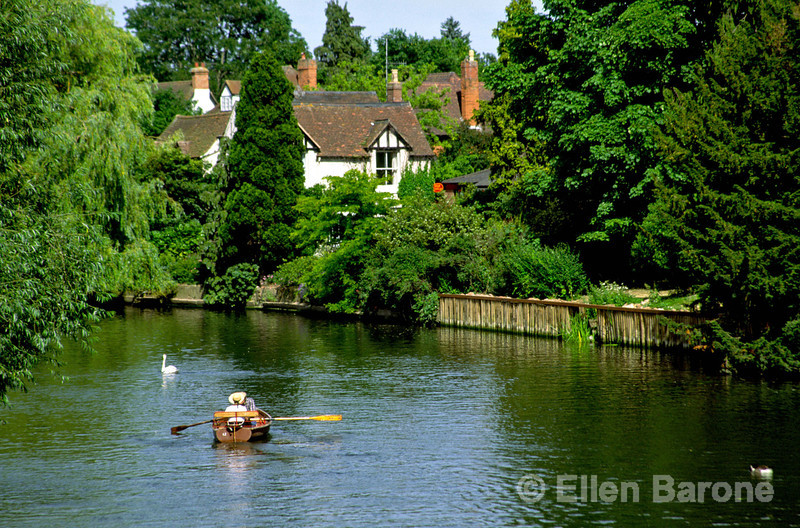 An idyllic scene, rowboat on the River Avon, Stratford-Upon-Avon, England