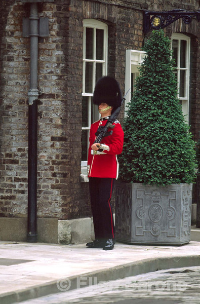 A sentry stands guard at the Queen's House, the sovereign's official residence at the Tower of London, London, England.