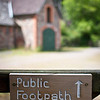 Public footpath sign, north Devon farm, south west England, U.K.