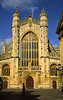 The west front of  Bath Abbey features 300 fine medieval statues of kings, knights, and saints, many of them life size, Abbey Church Yard, Bath, England.