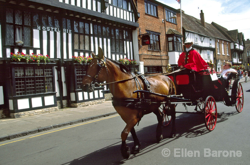 Horse and carriage, High Street, Stratford-Upon-Avon, England