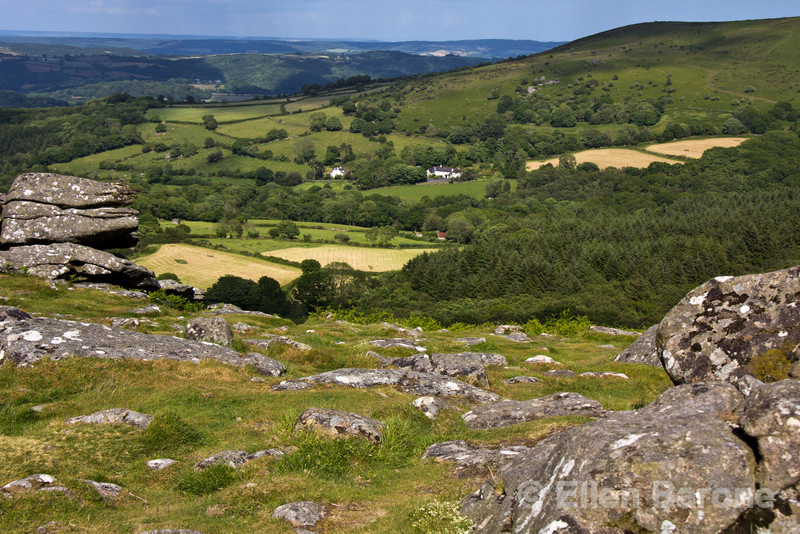 View from  Hound Tor, a heavily weathered granite outcrop atop Dartmoor, Devon, England, U.K.