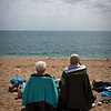 Quintessentially British beach goers, Blackpool Sands beach,  Devon, England, U.K.