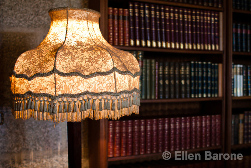 Library lamp, Castle Drago, a National Trust property and country house built in the 1910s and 1920s for Julius Drewe, near Drewsteignton, Devon, England.
