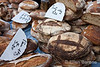 Fresh baked bread, Saturday market, Sarlat, France.