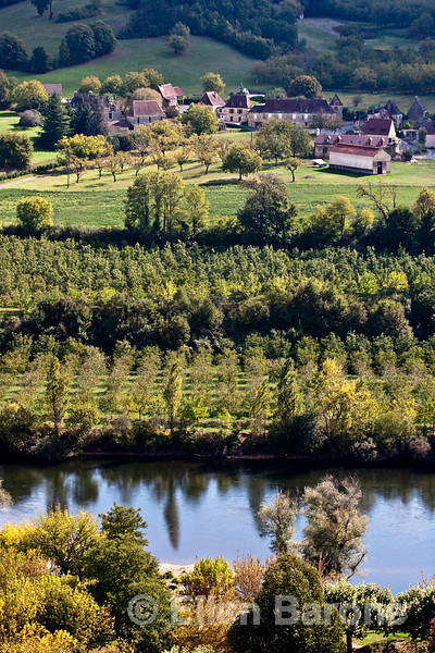 Panoramic view of the Dordogne River valley as seen from Chateau o Marquayssac, Dordogne, France.