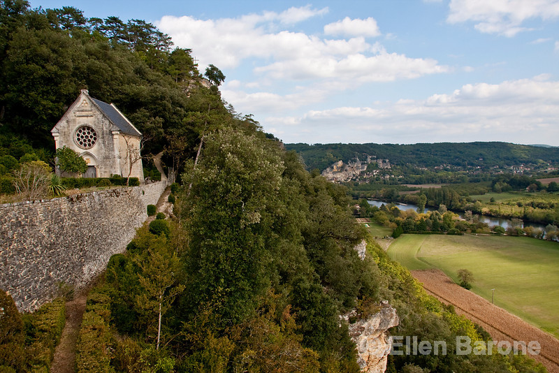 Chapel gardens and view of Dordogne River valley as seen from Chateau Marquayssac, Dordogne, France.