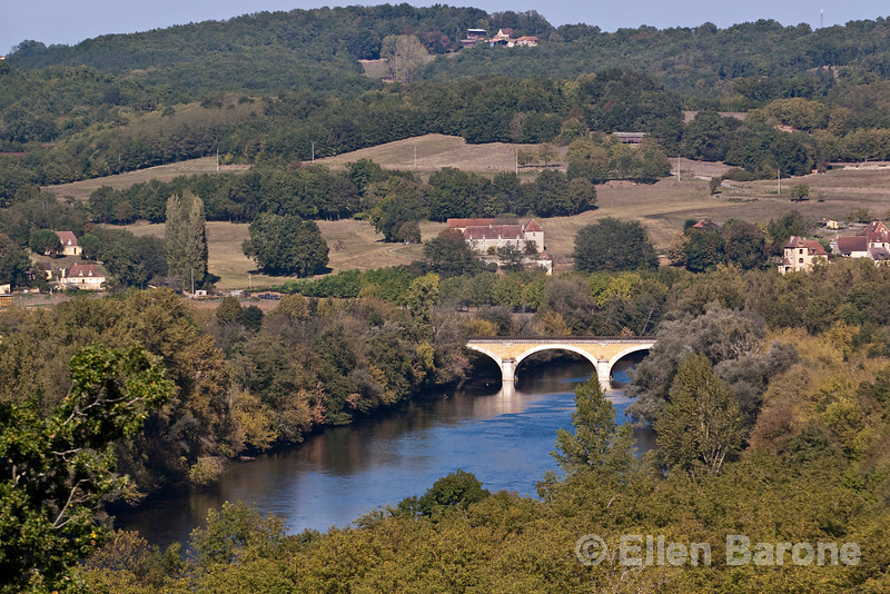 A panoramic view of the Dordogne River valley as scene from chateau Les Milandes,  France.