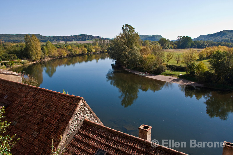 Rooftops and Dordogne river view from la Roque Gageac, France