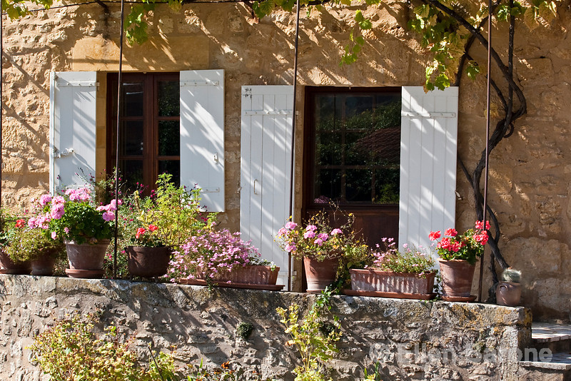 Traditional village home with flower boxes, Domme, France
