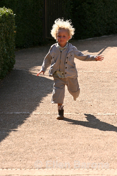 An adorable young visitor to Chateau Les Milandes, Dordogne River valley, France.