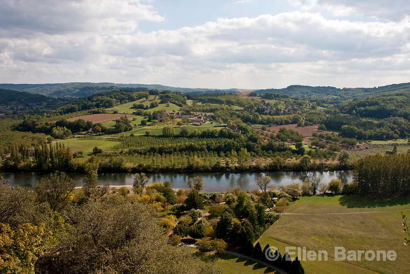 Panoramic view of Dordogne River valley as seen from Chateau Marquayssac, Dordogne, France.