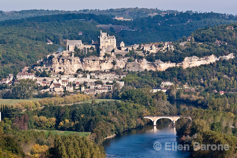 A panoramic view of the Dordogne River valley as scene from Castlenaud, France.