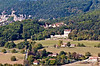Panoramic view of the Dordogne River valley, Domme, France.