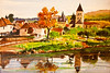 watercolor, Dordogne River valley scenic, France.