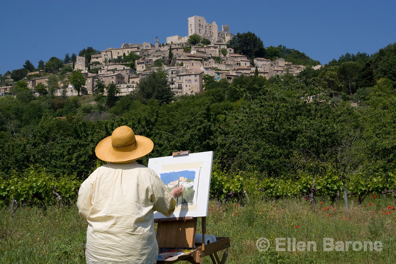 An artist captures the beauty of the pretty hilltop village of Lacoste, the Luberon, Provence, France, Europe