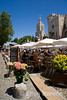 Cafe tables, Pakaus des Papes (Papal Palace), place du Palais, Avignon, Provence, France, Europe.