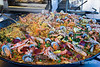Delicious seafood dish, market day, Sarlat, France,