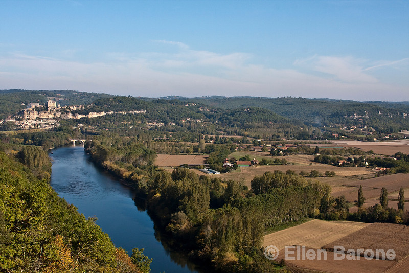 Panoramic view of the Dordogne River valley as seen from Castlenaud. France.