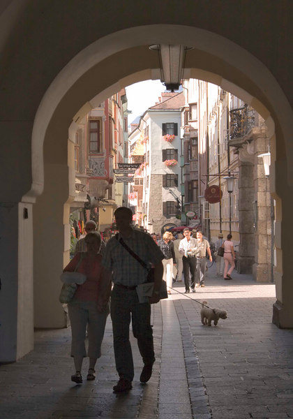A lovely arched entrance to the medieval old town of Innsbruck, Tyrol, Austria, Europe.