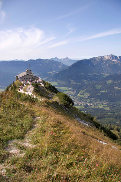 The 6,184 foot (2,522 meter) peak of Hoher Goll, above Berchtesgaden in the Bavarian Alps. The isolated peak is the site of the Eagle's Nest, the teahouse and resort built for Hitler, Bavaria, Germany, Europe.