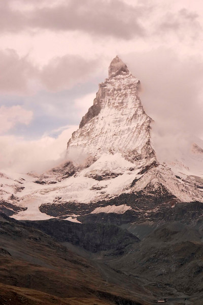 The Matterhorn as viewed from the Gornergrat Bahn cog railway, Zermatt, Alps, Switzerland, Europe.