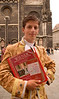 In the high season Mozart impersonators wander the Altstadt, Old City, selling concert tickets,Stephansdom Cathedral, Vienna (Wien), Austria, Europe. Model Release #0166.