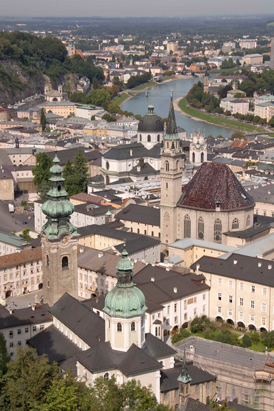 Salzburg, as viewed from Hohensalzburg fortress, spreads out along the banks of the Salzach River, Austria, Europe.
