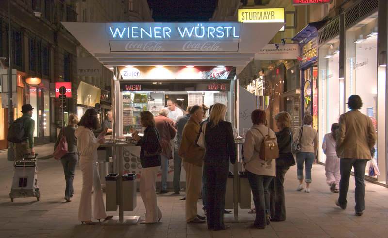 Wiener Wustl, Kohlmarkt at night, Vienna, Austria, Europe.