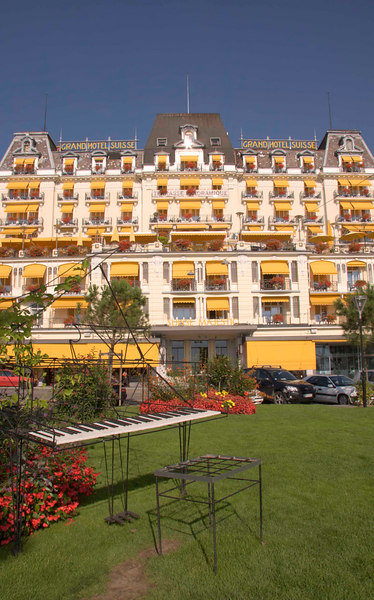 Gramd Hotel Suisse, Montreux on the shores of Lake Geneva, Switzerland, Europe.
