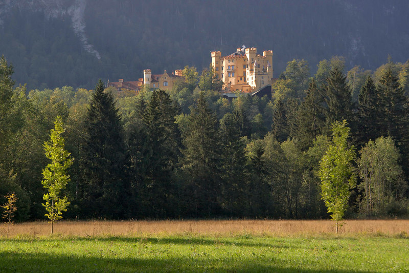 The lovely Castle Hohenschwangau, summer residence of the Bishops of Augsburg, Bavaria, Germany, Europe.