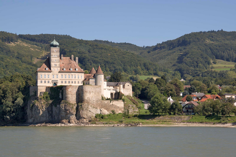 Schonbuhel Castle on the banks of the Danube River, Wachau Valley, Austria.